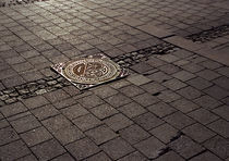 Manhole cover in the setting winter sun von Palle Smith-Petersen