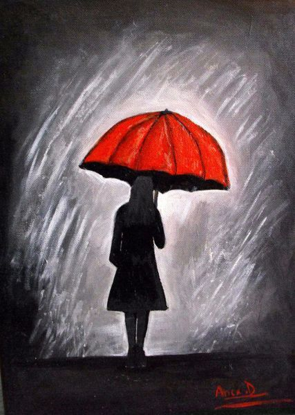 Red umbrella painting painting art prints and posters by for Painting red umbrella