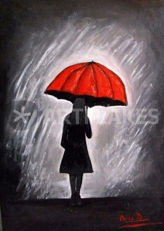 Painting Lady With Red Umbrella
