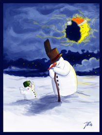 snowman and snow children von Jaroslaw Wasilewski