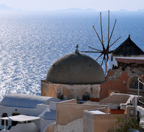 Windmill Santorini Greece by Katerina Vorvi