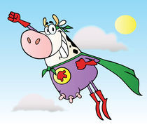 Super Hero Cow Flying To The Rescue  by hittoon