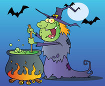 Cartoon Ugly Witch Preparing A Potion  von hittoon