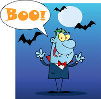 Happy Vampire With Speech Bubble And Text Boo  von hittoon