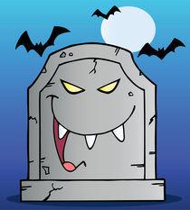 Laughing Tombstone Cartoon Character In Halloween Night  von hittoon