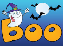 Ghost Wearing A Witch Hat In The Word BOO With Bats On Blue  by hittoon