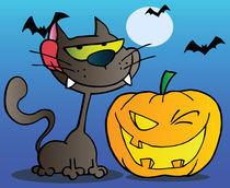 Black Cat And Winking Halloween Jackolantern Pumpkin With Bats On Blue  von hittoon