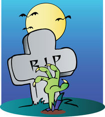 Green Zombie Hand Reaching Up From The Earth In Front Of A Tombstone  von hittoon