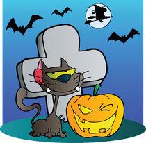 Black Cat And Halloween Jackolantern By A Tombstone  von hittoon