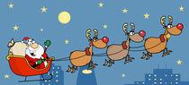 Christmas Santa Sleigh And Reindeer  von hittoon