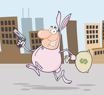 Happy Bandit Running With Easter Rabbit Costume In City  by hittoon