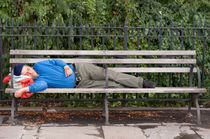 Man Sleeping on Bench by Michael Bastianelli