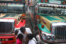 Colorful Busses in Antigua Guatemala by Charles Harker