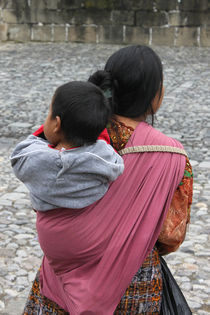 Woman with baby on back in Antigua Guatemala by Charles Harker