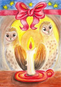 Barn Owls in Candlelight von Katri Ketola