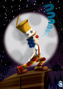 clown and the moon by miroslava soriano