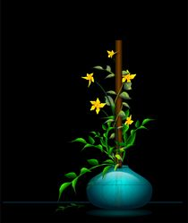 Teal-vase-with-yellow-flowers