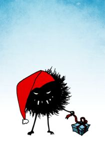 Evil christmas bug with a present by Boriana Giormova
