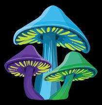 Funky Mushrooms - Black by Jen K