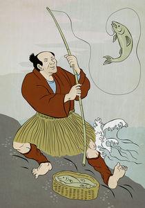 Japanese fisherman fishing catching trout fish by patrimonio