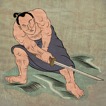 Samurai warrior with katana sword fighting stance von patrimonio