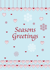 Seasons Greetings, Hearts and Snowflakes von Caroline Allen