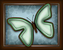 Elegant Green Butterfly with Slate Blue and Brown by Amy Sagan