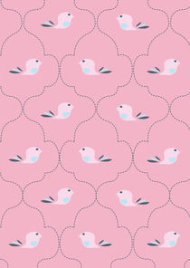 Pink Indian Bird Pattern by Caroline Allen