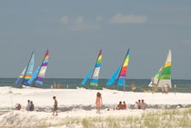 Santa Rosa Beach with Sailboats by Tom Warner
