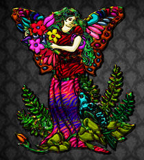 Butterfly Woman Holding Flowers by Blake Robson