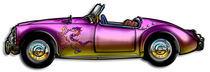 small classic sports car Medieval Lion Graphic von Blake Robson