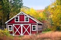 Red Barn in Autumn by Betty LaRue