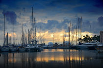 The sunset over the marina in Cannes, France  by Tanja Krstevska
