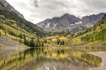 """Maroon Bells"" on a cloudy day.  by Irina Moskalev"
