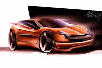 Orange concept car sketching by Nikola Novak