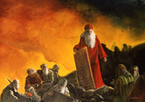 Moses gives the law to his people by Giora Eshkol