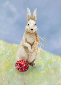 Easter Bunny with a Decorated Egg by Louise Heusinkveld