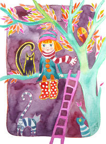 Ginger girl on a tree with her cat by Jana Nikolova