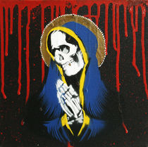 'Santa Muerte - Stencil over Canvas' by Victor Cavalera