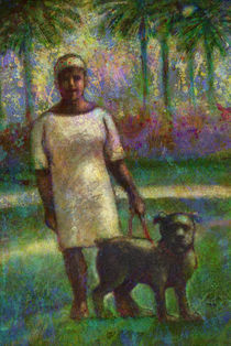 Black woman with dog. by natogomes