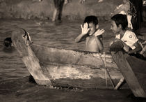 Burmese children in the Irrawaddy River. by RicardMN Photography