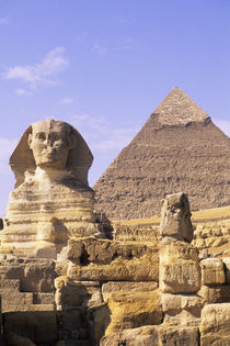Sphinx with Cheops Pyramid In Background von Wolfgang Kaehler