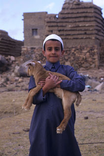 Local Boy (Yasir) with Pet Lamb von Wolfgang Kaehler