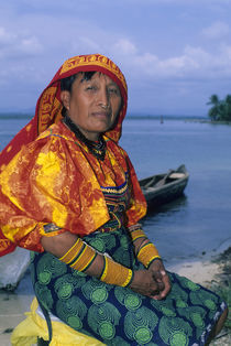 Kuna Indian Woman on Beach by Wolfgang Kaehler