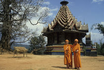 Monks In Front of a Pagoda by Wolfgang Kaehler