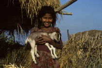 Girl Carrying a Young Goat by Wolfgang Kaehler