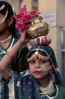 Portrait of a Young Girl In Sari During a Welcome Ceremony by Wolfgang Kaehler