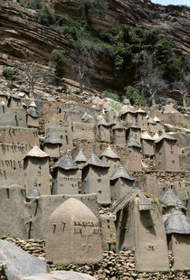 Cliffside Dwellings of Tellem Tribe Above Village by Wolfgang Kaehler