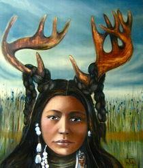 Native deer woman art print by claudia tremblay