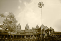 Infrared Image of Angkor Wat Looking West by Mark Lucock